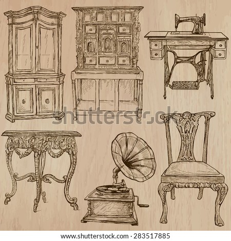 FURNITURE (pack No.4)   Collection Of An Hand Drawn Vector Illustrations.