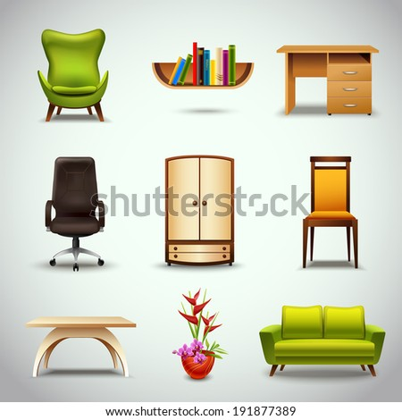 Furniture realistic decorative icons set of chair bookshelf table  isolated vector illustration - stock vector