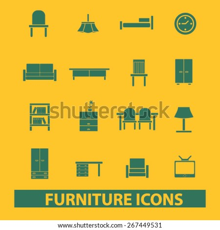 furniture, room, decoration, chair, sofa, table, tv isolated web icons, signs, illustrations concept design set, vector - stock vector
