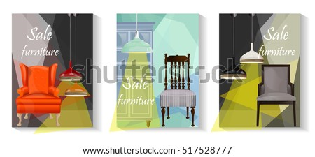 Furniture Sale Advertisement Flyers.Vector Banners.Sale Tag Banner 3  Sets.Elements Of