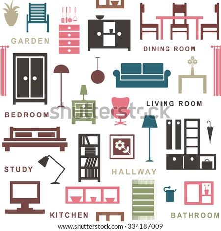 Furniture seamless pattern 1 - stock vector