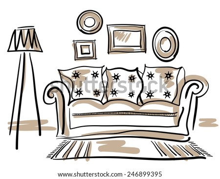 Furniture set for living room with a couch, floor lamp, carpet and photo frames. - stock vector