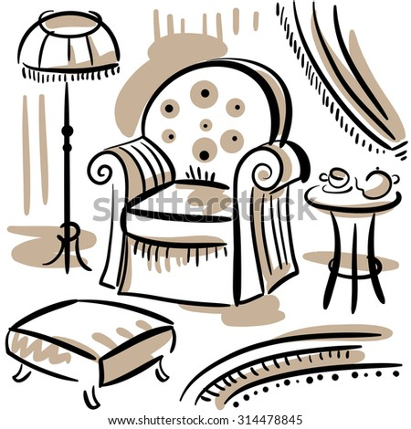 Furniture set for living room with an arm chair, floor lamp, ottoman and coffee table. Hand drawn illustration. - stock vector