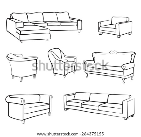 Furniture set. Interior detail outline collection: bed, sofa, settee, armchair. - stock vector