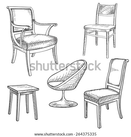 Furniture set. Interior detail outline collection: chair, armchair, stool. - stock vector