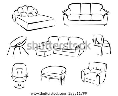 Furniture set isolated on white background for house interior design or idea of logo. Jpeg version also available in gallery - stock vector