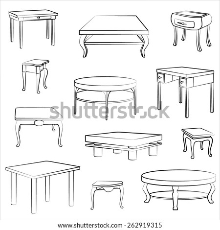 Furniture set of different table and desk. Interior detail outline sketch collection. - stock vector