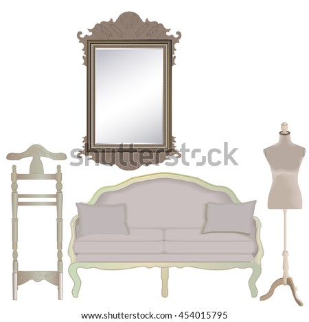 furniture set on a white background, vector illustration - stock vector