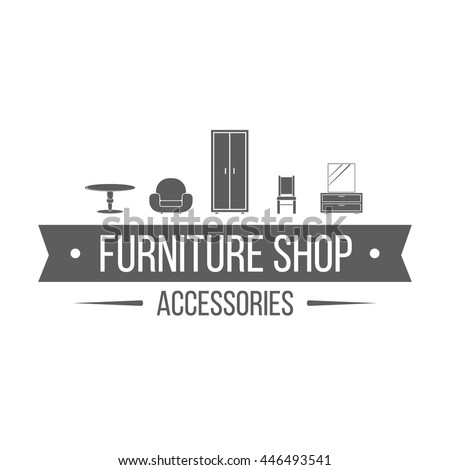 popular furniture stores logos.  Logos Furniture Shop Label On White Background Monochrome Logotype With Table  Armchair Closet Throughout Popular Stores Logos
