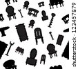 furniture silhouette - seamless background - stock vector