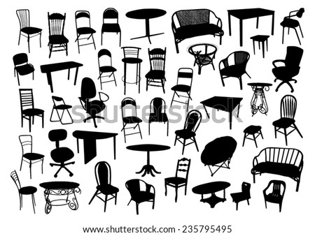 Furniture Silhouettes Set - stock vector