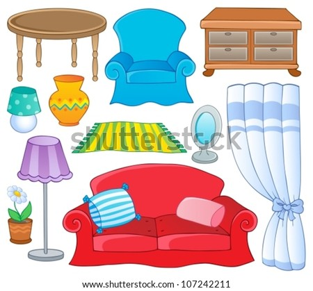 Furniture theme collection 1 - vector illustration. - stock vector