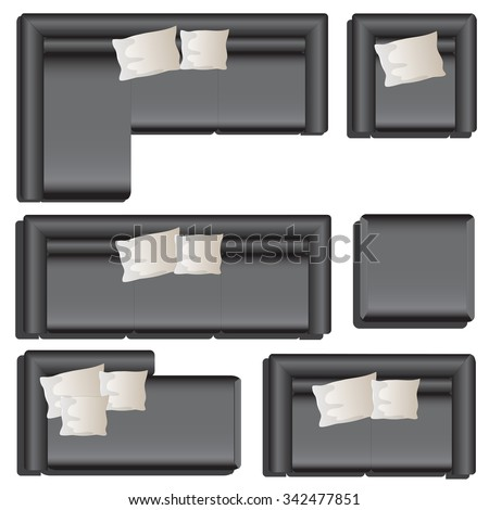 Furniture Top View Set 33 For Interior Vector Illustration Black