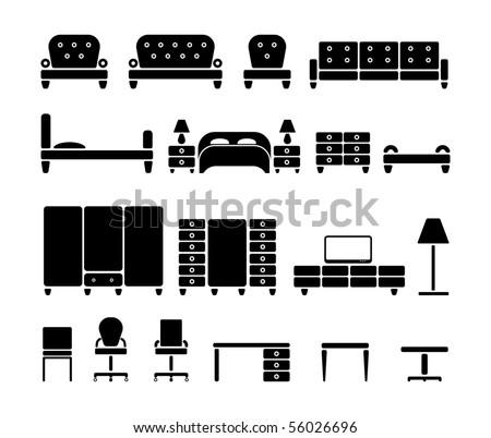 Furniture. Vector icon set - stock vector