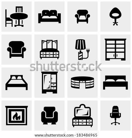 Furniture vector icons set on gray  - stock vector
