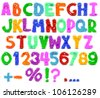 furry alphabet with eyes - stock vector