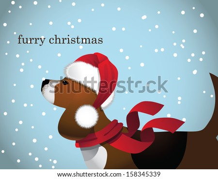 Furry Christmas Beagle in Santa Claus Hat. EPS 10 vector, grouped for easy editing. No open shapes or paths. - stock vector