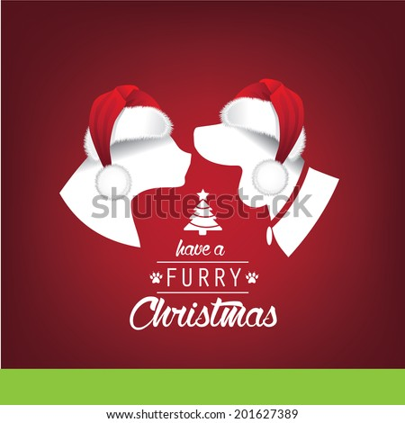 Furry Christmas Santa Hats greeting card design. EPS 10 vector, grouped for easy editing. No open shapes or paths. - stock vector