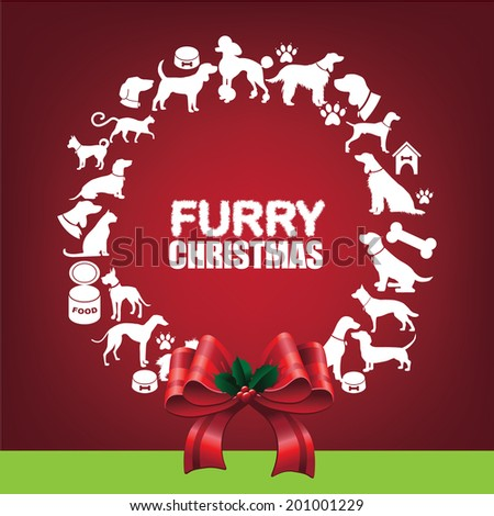 Furry Christmas Wreath greeting card design. EPS 10 vector, grouped for easy editing. No open shapes or paths. - stock vector
