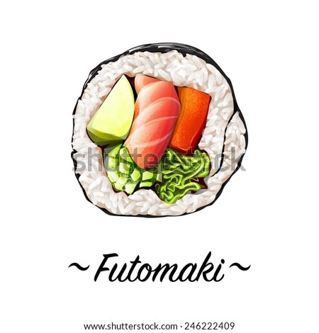 Futomaki sushi roll containing salmon meat, sweat pepper rice, caviar, avocado, cucumber on a white background. Japanese cuisine, traditional food icon. Pixel perfect isolated vector illustration - stock vector
