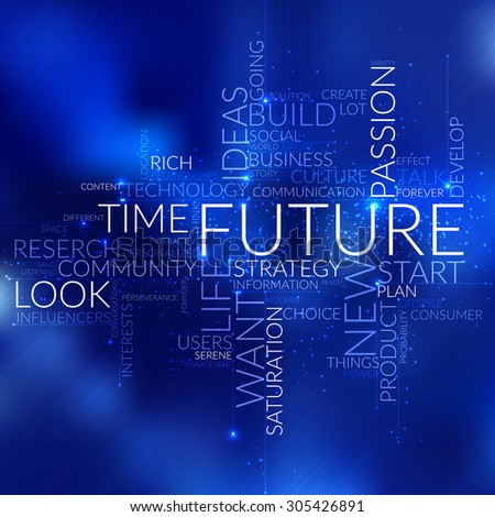 Future business concept in word tag cloud, vector background