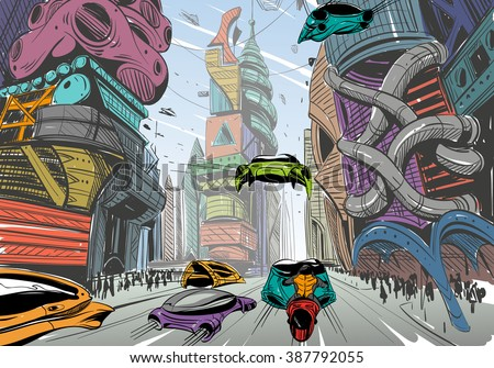 Future city hand drawn sketch. Vector illustration - stock vector