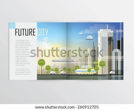 future city traffic transportation concept illustration for brochures, magazines or catalog presentations - stock vector