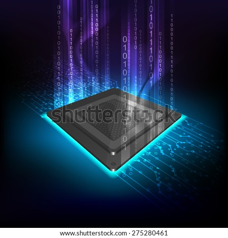 future computer processor, electronic technology background, vector cpu generation - stock vector