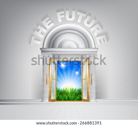 Future door concept. A conceptual illustration for a happy verdant future of a door opening onto a field of lush green grass - stock vector