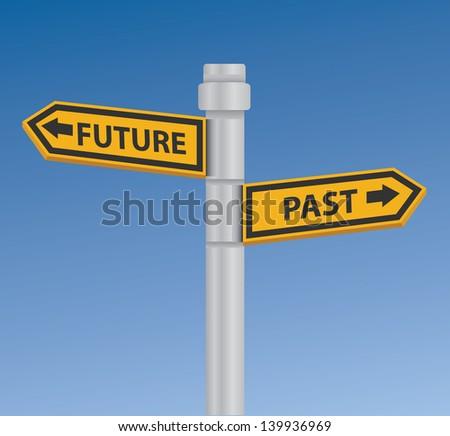 Future & past signpost,vector - stock vector