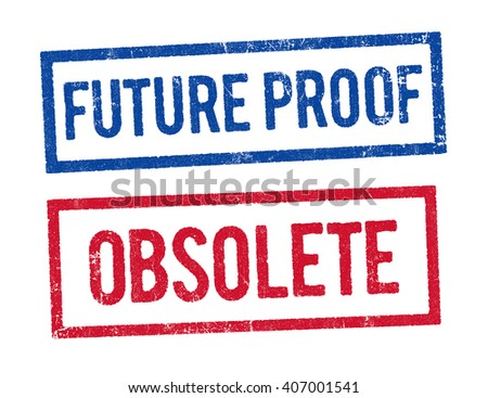 Future proof and Obsolete stamps - stock vector