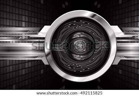 future technology, black silver eye cyber security concept background, abstract hi speed digital internet.motion move speed blur. eyeball. vector
