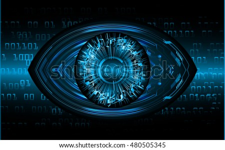 future technology, blue eye cyber security concept background, abstract hi speed digital internet