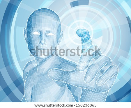 Future technology 3D app concept with blue human man figure touching a touch screen activating something - stock vector