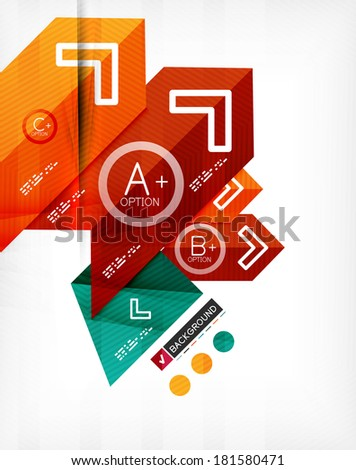 Futuristic abstract 3d infographic composition. Paper geometric shapes with options and space for text. Can be used for web banners, printed materials, business presentations - stock vector