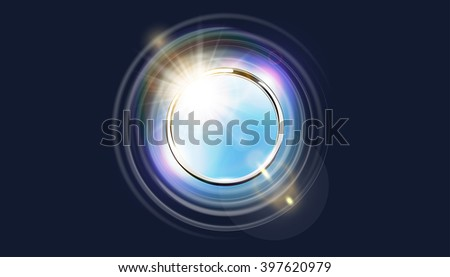 Futuristic abstract metal ring background. Chrome shine round frame with light circle and sun lens flare light effect. Vector glowing stainless steel gap to blue sky. Space for your message. - stock vector