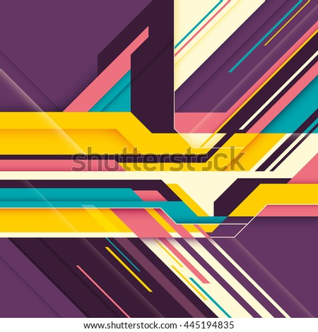 Futuristic abstraction with colorful shapes. Vector illustration. - stock vector