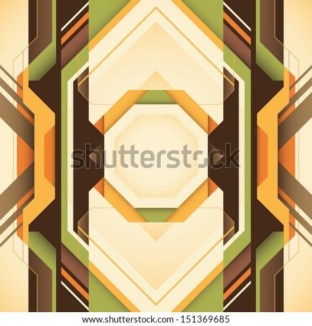 Futuristic abstraction with geometric shapes in color. Vector illustration. - stock vector