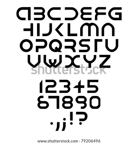 futuristic alphabet font isolated - illustration - stock vector