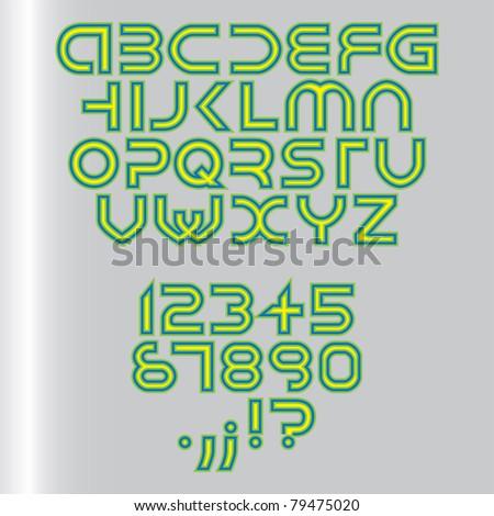 futuristic alphabet font isolated - illustration - stock vector