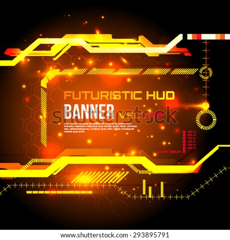 Futuristic banner, technology background,interface, HUD,  vector  - stock vector