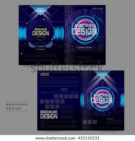 Futuristic Bifold Brochure Template Design Digital Stock Vector - Digital brochure templates
