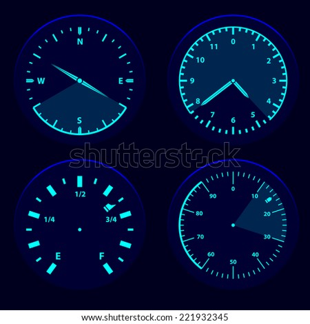 Futuristic blue gauge dashboard touch user interface HUD - stock vector