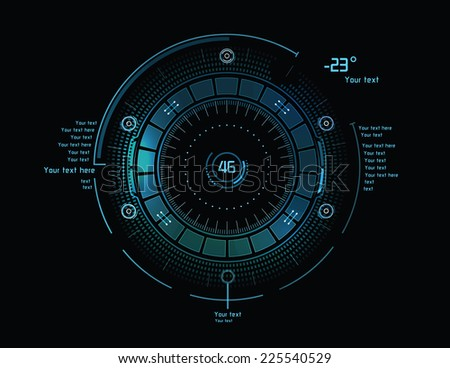 Futuristic blue infographics as head-up display - stock vector