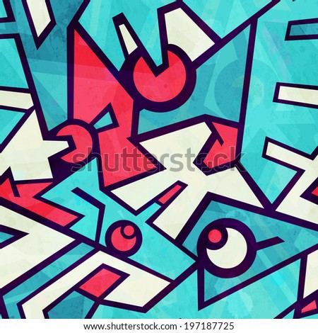 futuristic blue seamless pattern with grunge effect - stock vector