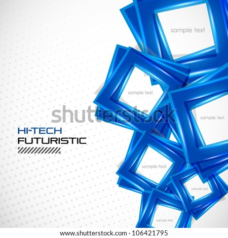 Futuristic blue square abstract background - stock vector