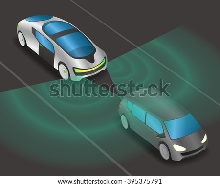 futuristic car and various sensors, Remote Sensing System of Vehicle. smart car, safety car, autonomous car, view from diagonally and front, vector illustration - stock vector