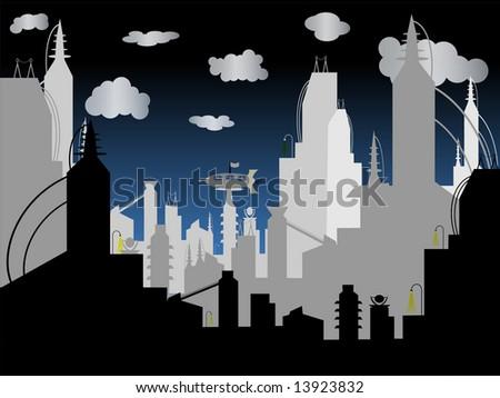 Futuristic City - Vector Background - stock vector