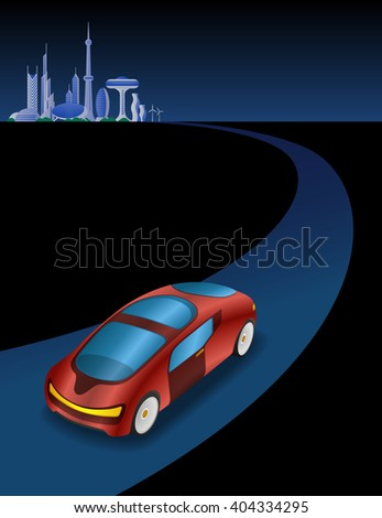 futuristic cityscape and vehicle on the curve road, vector illustration