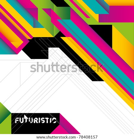 Futuristic colorful background with abstraction. Vector illustration. - stock vector